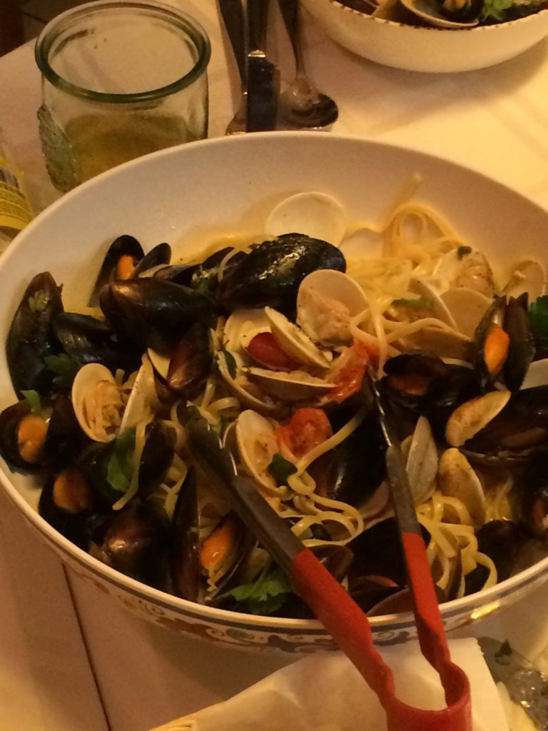 Linguini with Clams and Mussels in a white wine sauce